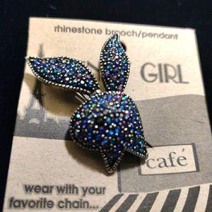 Rhinestone Bunny Pendant/Pin